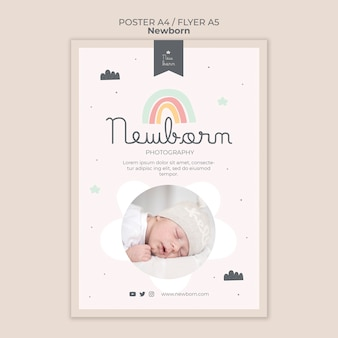 Newborn baby poster and flyer template design