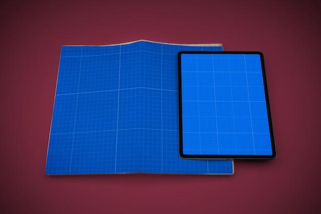 신문 및 태블릿 모형