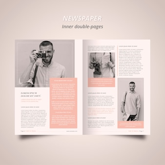 Newspaper article template with photographer