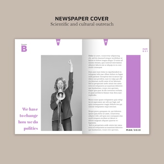 Newspaper cover with image and text
