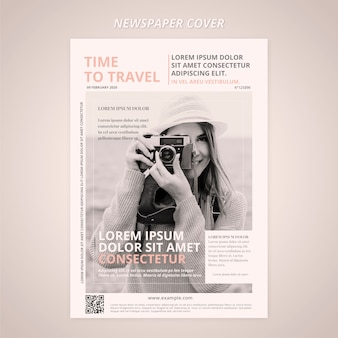 Copertina di giornale con fotografo di viaggio
