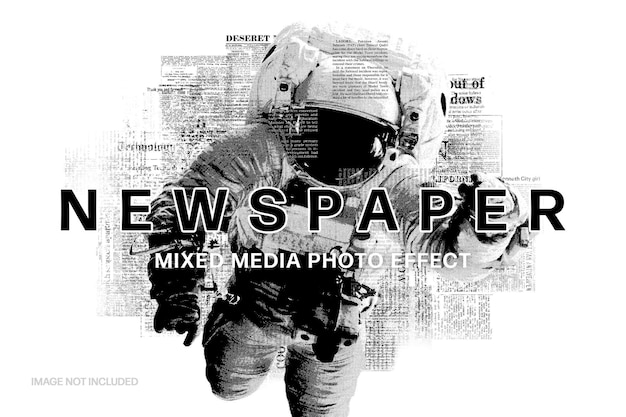 Newspaper mixed media photo effect