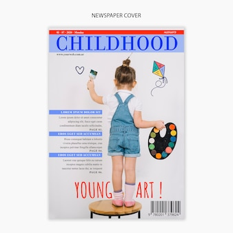 Newspaper template about childhood