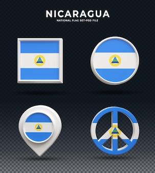Кнопка купола 3d рендеринга флаг никарагуа и на глянцевой базе
