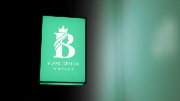 Night business green sign
