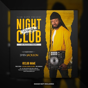 Night club party flyer template social media post banner or poster