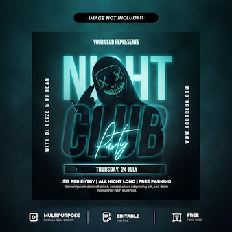 Шаблон сообщения в социальных сетях night club party
