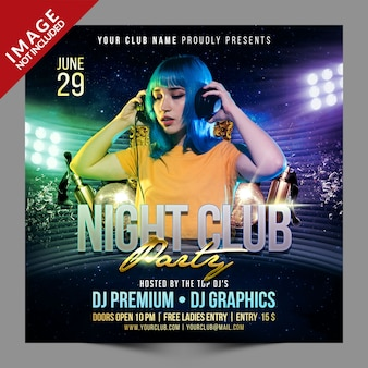 Night club party social psd media promotion template