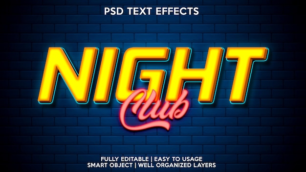 Night club text effect template