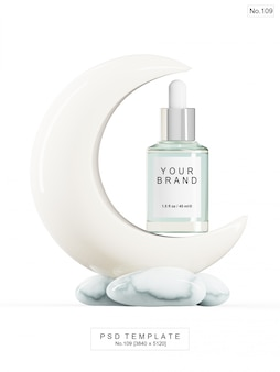 Night cream product with moon shape stone. 3d render