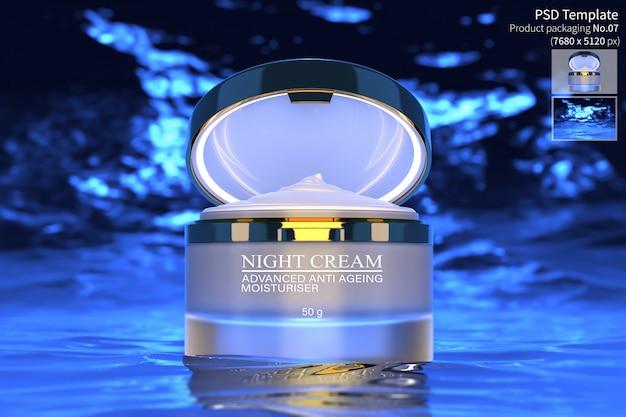 나이트 크림 스킨 케어 제품은 어두운 푸른 물 배경 3d 렌더링에 격리