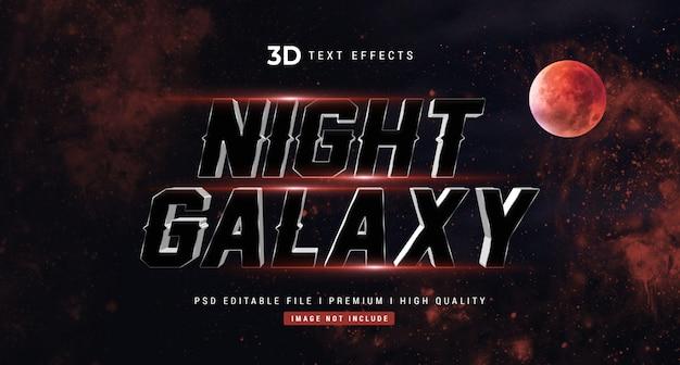 Night galaxy 3d text style effect mockup