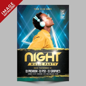 Night music party promotion flyer