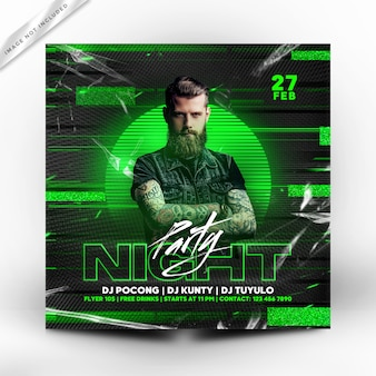 Night party flyer or poster template