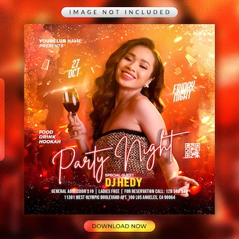 Night party flyer or social media promotional banner template