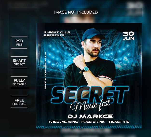 Night party flyer template or social media post