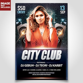 Шаблон night party flyer с редакционными слоями