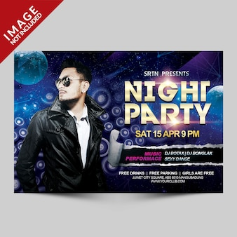 Night party horisontal flyer template