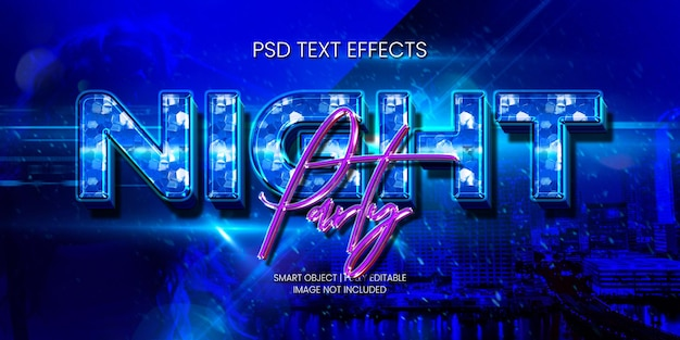 Night party text effect