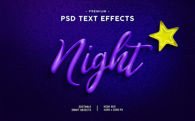 Night text effect