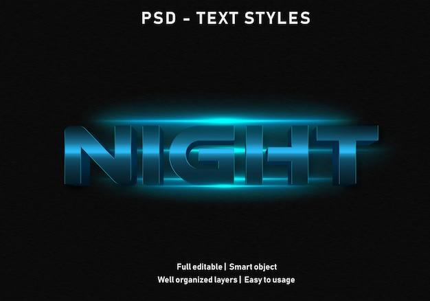 Ночные текстовые эффекты стиль редактируемый psd