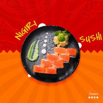 Nigiri sushi recipe with raw fish for asian japanese restaurant or sushibar