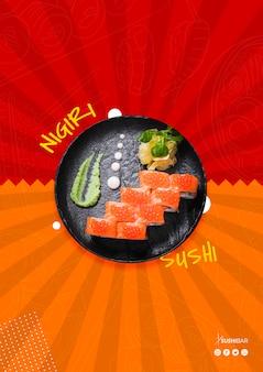 Nigiri sushi recipe with raw fish for asian japanese restaurant