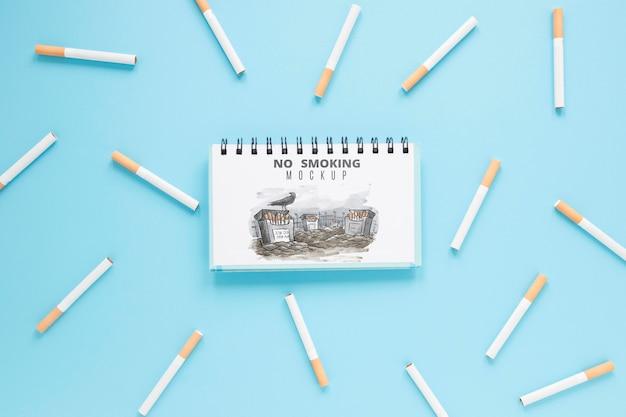 Вид сверху концепции не курить