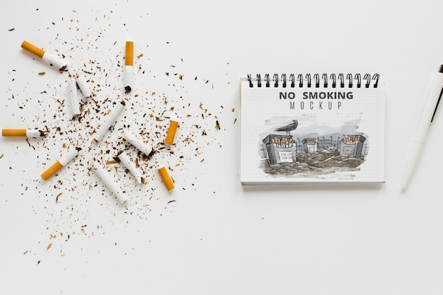 No smoking concept with notebook