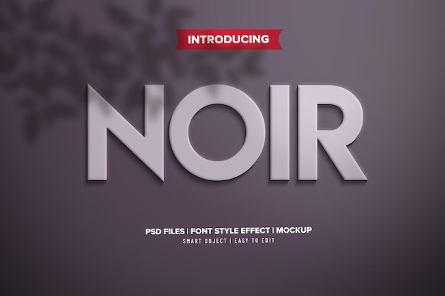 Noir minimalist text effect template