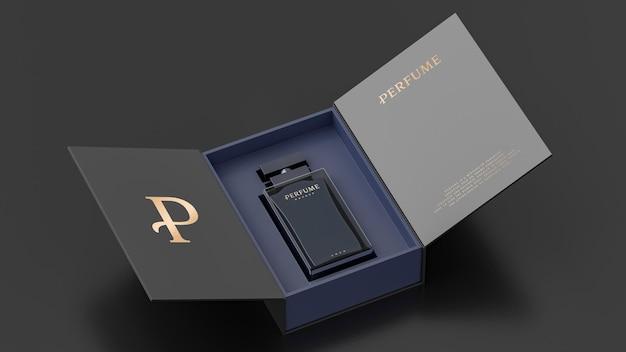 Макет белой упаковки флакона духов noir для презентации фирменного стиля 3d визуализации