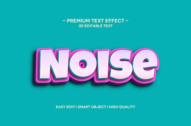 Noise 3d text style effect template