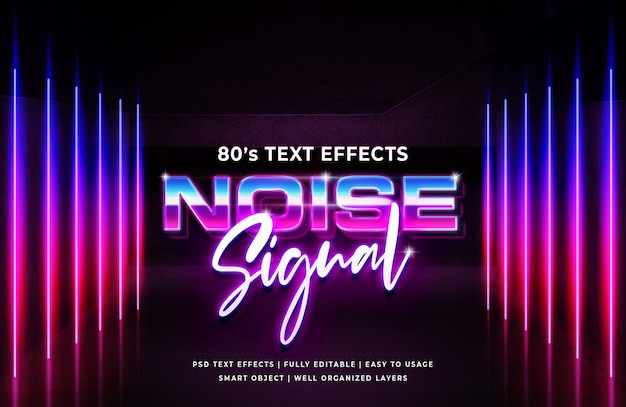 Noise signal 80's retro text effect