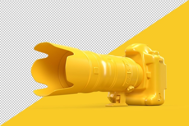 Non-existent yellow dslr camera on yellow background. 3d illustration