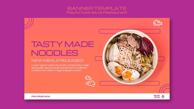 Modello di banner ristorante di noodle