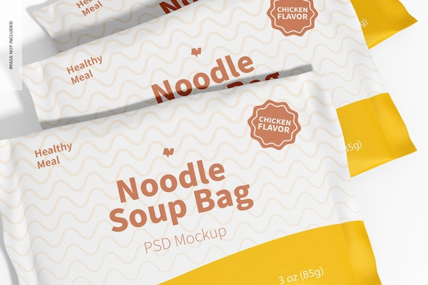 Мокап пакетов для супа с лапшой, крупным планом