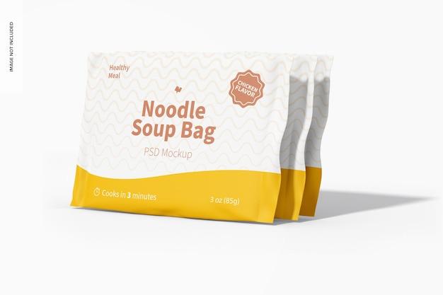 Мокап пакетов для супа с лапшой, вид слева