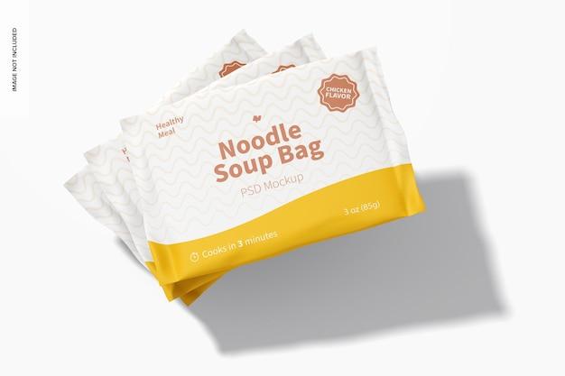 Мокап пакетов для супа с лапшой, вид в перспективе