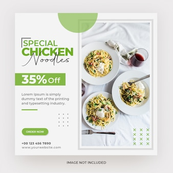 Noodles food menu web banner template design