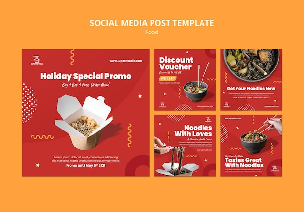Noodles promo social media posts