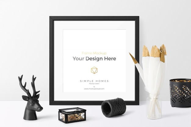 Nordic home decoration elements and mockup photo frame