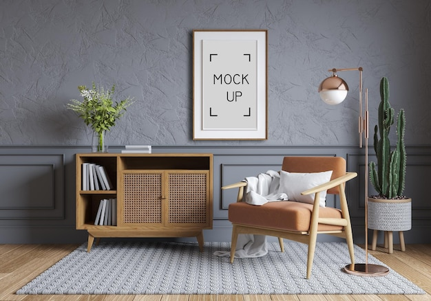 Nordic style interior design ,wood cabinet and wood chair on gray wall with parque wood flooring