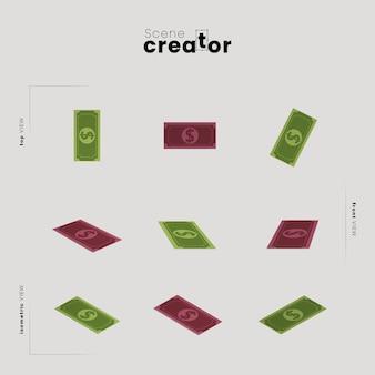 Банкноты денег под разными углами для иллюстраций создателя сцены