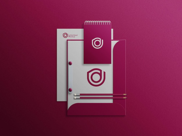 Note pad on file cabinet mockup with letterhead