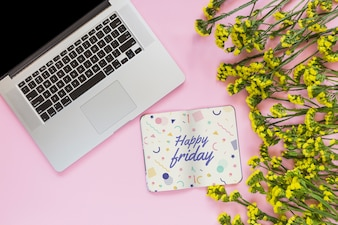 Notebook and laptop mockup with floral decoration for wedding or quote