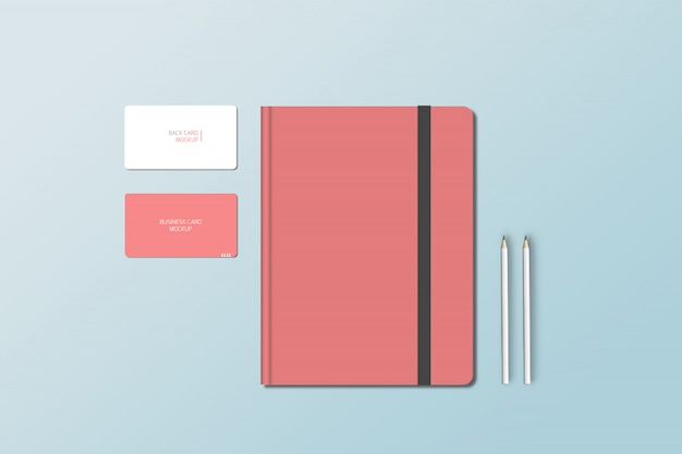 Notebook and business card mock-up