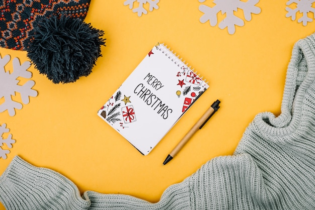 Notebook cover mockup with christmas concept