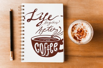 Notebook cover mockup with coffee concept