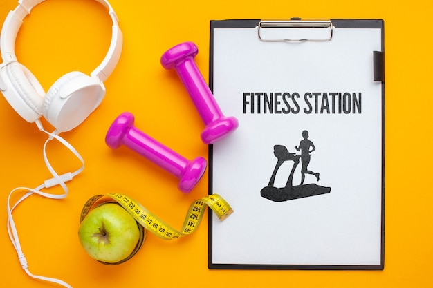 Notebook and fitness class equipment