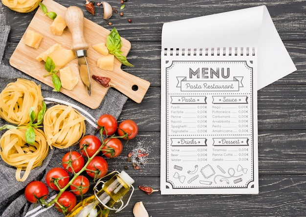 Notebook and italian food assortment